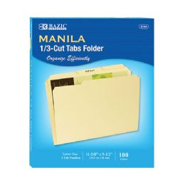 10 Units of BAZIC 1/3 Cut Letter Size Manila File Folder (100/Box)