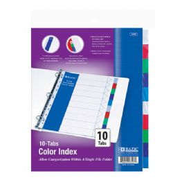 144 Units of Bazic 3-Ring Binder Dividers W/ 10-Color Tabs - Clips and Fasteners