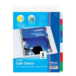 48 Units of BAZIC 3-Ring Binder Dividers w/ 8-Insertable Color Tabs - Clipboards and Binders