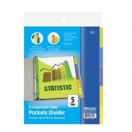 144 Units of BAZIC 3-Ring Binder Pockets Dividers w/ 5-Insertable Color Tabs - Clipboards and Binders