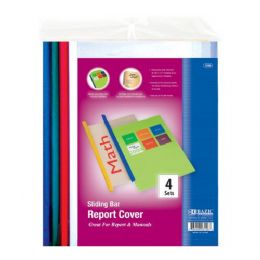 144 Units of Bazic Clear Front Report Covers W/ Sliding Bar (4/pack) - Folders and Report Covers