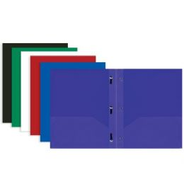 48 Units of Bazic Solid Color 2-Pockets Poly Portfolio W/ 3 Prongs - Folders and Report Covers