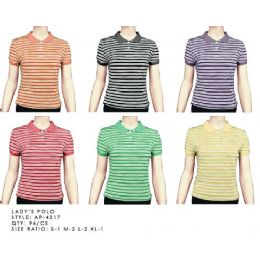 96 Units of Stripe Polo Shirt - Womens Fashion Tops