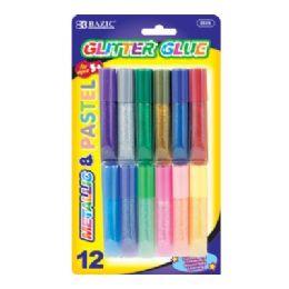 60 Units of BAZIC 6ml Assorted Color Mini Glitter Glue (12/Pack) - Glue Office and School