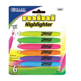 144 Units of Bazic Mini Fluorescent Highlighter W/ Cap Clip (6/pack) - Markers and Highlighters