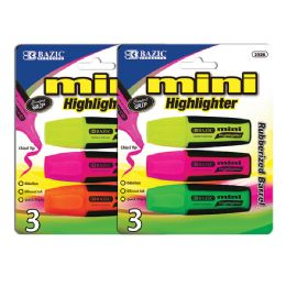 144 Units of Bazic Mini Fluorescent Highlighters With Cushion Grip (3/pack) - Markers and Highlighters