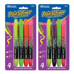 144 Units of Bazic Pen Style Fluorescent Color Liquid Highlighters (4/pack) - Markers and Highlighters