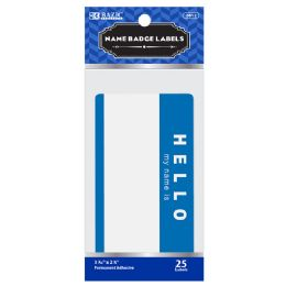"144 Units of BAZIC ""HELLO my name is"" Name Badge Label (25/Pack) - Labels ,Cards and Index Cards"