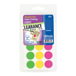 "144 Units of Bazic Assorted Color 3/4"" Round Label (306/pack) - Labels ,Cards and Index Cards"