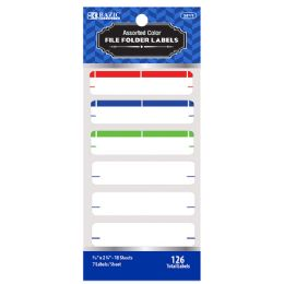 144 Units of Bazic Assorted Color File Folder Label (126/pack) - Labels ,Cards and Index Cards