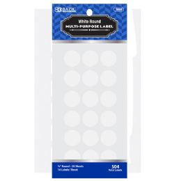 "144 Units of Bazic White 3/4"" Round Label (504/pack) - Labels ,Cards and Index Cards"