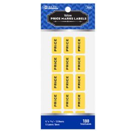 144 Units of Bazic Yellow Price Mark Label (180/pack) - Labels ,Cards and Index Cards