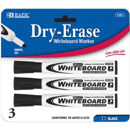 144 Units of BAZIC Black Chisel Tip Dry-Erase Markers (3/Pack) - Markers and Highlighters