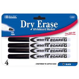 144 Units of BAZIC Black Fine Tip Dry-Erase Marker (4/Pack) - Markers and Highlighters