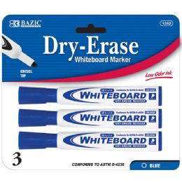 144 Units of BAZIC Blue Chisel Tip Dry-Erase Markers (3/Pack) - Markers and Highlighters