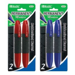 144 Units of BAZIC Heavy Duty Jumbo Chisel Tip Permanent Marker w/ Grip (2/pack) - Markers and Highlighters