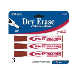 144 Units of BAZIC Red Chisel Tip Dry-Erase Markers (3/Pack) - Markers and Highlighters