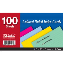 "36 Units of Bazic 100 Ct. 3"" X 5"" Ruled Colored Index Card - Labels ,Cards and Index Cards"