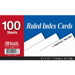 "36 Units of Bazic 100 Ct. 3"" X 5"" Ruled White Index Card - Labels ,Cards and Index Cards"