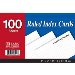"48 Units of Bazic 100 Ct. 4"" X 6"" Ruled White Index Card - Labels ,Cards and Index Cards"