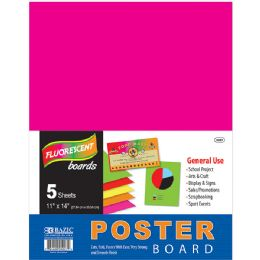 "96 Units of Bazic 11"" X 14"" Multi Color Fluorescent Poster Board (5/pack) - Paper"