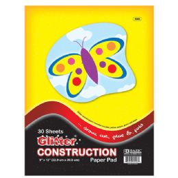 "96 Units of Bazic 30 Ct. 9"" X 12"" Glitter Construction Paper Pad - Paper"