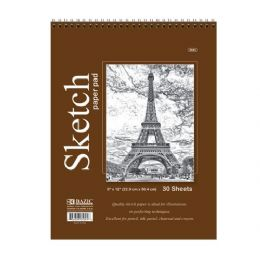 "48 Units of Bazic 30 Ct. 9"" X 12"" Top Bound Spiral Sketch Pad - Paper"