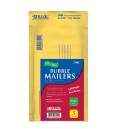"72 Units of BAZIC 4"" X 7.25"" (#000) Self Sealing Bubble Mailers (5/Pack) - Boxes & Packing Supplies"