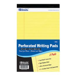 "24 Units of BAZIC 50 Ct. 5"" X 8"" Canary Jr. Perforated Writing Pad (3/Pack) - Notebooks"