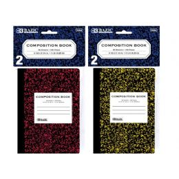 "72 Units of BAZIC 80 Ct. 4.5"" x 3.25"" Mini Marble Composition Book (2/Pack) - Notebooks"
