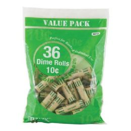 50 Units of Bazic Dime Coin Wrappers (36/pack) - Coin Holders & Banks