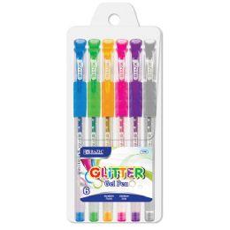 144 Units of BAZIC 6 Glitter Color Gel Pen w/ Cushion Grip - Pens