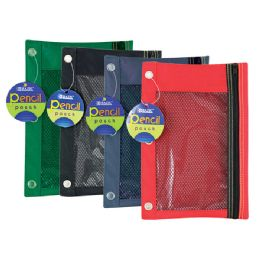 144 Units of BAZIC 3-Ring Pencil Pouch w/ Mesh Window - Storage Holders and Organizers