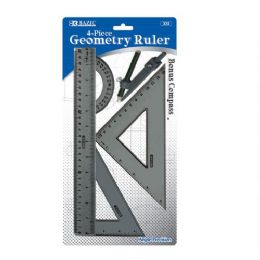 144 Units of Bazic 4-Piece Geometry Ruler Combination Sets W/ Compass - Rulers