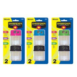 144 Units of BAZIC Dual Blades Sharpener w/ Round Receptacle (2/Pack) - Sharpeners