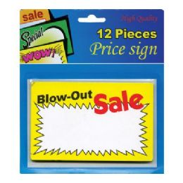"24 Units of 5.5"" X 3.5"" Blow-Out Sale Price Sign (12/Pack) - Signs & Flags"