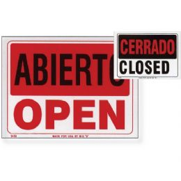 "144 Units of 9"" X 12"" Abierto Sign w/ Cerrado Sign on Back - Signs & Flags"