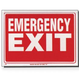 "144 Units of 9"" X 12"" Emergency Exit Sign - Signs & Flags"