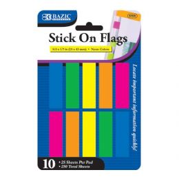 """144 Units of BAZIC 25 Ct. 0.5"""" X 1.7"""" Neon Color Coding Flags (10/Pack) - Sticky Note & Notepads"""