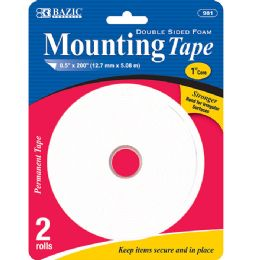 "144 Units of BAZIC 0.5"" X 200"" Double Sided Foam Mounting Tape (2/Pack) - Tape"