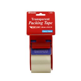 """144 Units of BAZIC 1.89"""" X 800"""" Clear Packing Tape w/ Dispenser - Tape"""
