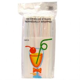 100 Units of Drinking Straws Individually Wrapped (100 Count)