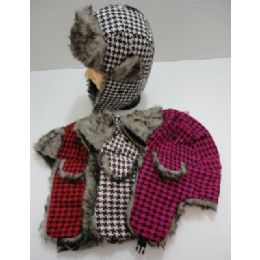 144 Units of Bomber Hat with Fur Lining--Houndstooth - Trapper Hats