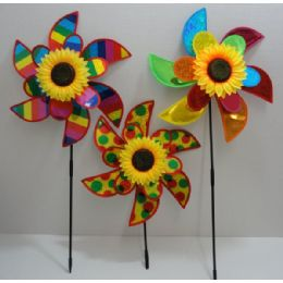 "120 Units of 15"" Double Flower Petal Wind Spinner-Rainbow & Sunflower - Wind Spinners"