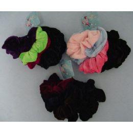 48 Units of 6pcs Velvet Pony Tail Holders - Hair Scrunchies