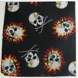 120 Units of Bandana-Flaming Skulls - Bandanas
