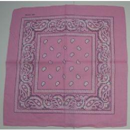 48 Units of Bandana-Light Pink Paisley - Bandanas