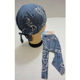 36 Units of Skull Cap-Denim Blue/Gray Paisley - Bandanas