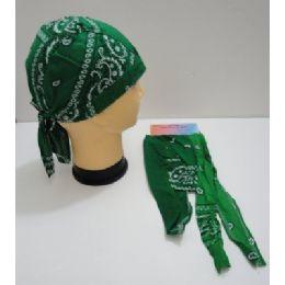 144 Units of Skull CaP-Green Paisley - Bandanas