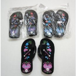 72 Units of Girls Flip Flops With Printed Hearts - Girls Flip Flops